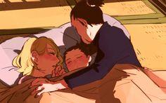 Temari, Shikadai, and Shikamaru #sleeping