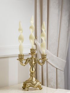 Candeliere candelabro portacandele stile Barocco foglia oro 3 fiamme