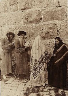 The Kotel-Wailing Wall, Jerusalem 1906 Praying at the kotel Men and women praying together at the wall. No division.
