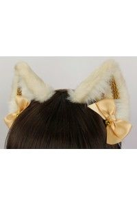 Gold & Ivory Brocade Realistic Cat Ears