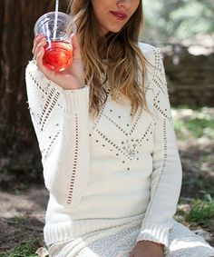 This Ivory Embellished Sweater by Potter's Pot is perfect! #zulilyfinds