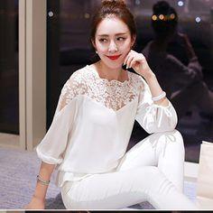 Plus Size XXL mulheres Chiffon blusa 2016 verão de manga três quartos camisa senhoras blusa de renda
