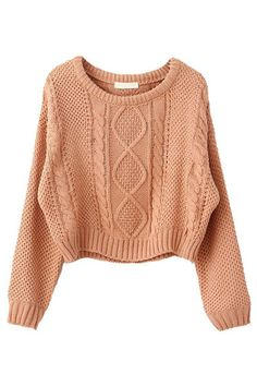 How to Wear Cropped Sweaters in 5 Cute Ways Nude Cable-knit Cropped Sweater Chunky Cable Knit Sweater, Cropped Knit Sweater, Sweater And Shorts, Loose Knit Sweaters, Knit Shirt, Chunky Knits, Cozy Knit, Sweater Cardigan, Denim Shorts