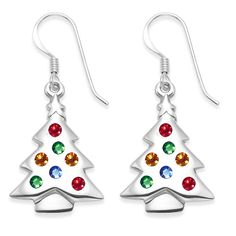 Sterling Silver Muti Coloured Cubic Zirconia Christmas Tree Earrings Size 23mm X 16mm