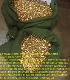 Gold Nugget, Bars For Sale And Diamond In Congo, Angola  +27604581586 Purity: 98.05% Goldkkk Investment: We are blessed by the fact that we have been in the business of linking buyer to sellers of Gold for over 19 years now and are still moving on just fine. For the entire time in business, we have managed to serve our esteemed clients with an everlasting smile just like the shine of our Gold does last. Our clients come from all over the World and serving them just fine has been fulfilling… Congo, Clinic, Investing, Blessed, Medical, Facts, Smile, Diamond, Business