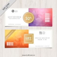 Discount coupons in polygonal style Free Vector Ticket Design, Menu Design, Presentation Design, Gift Voucher Design, Resume Template Free, Templates, Ad Layout, Branded Gifts, Cover Letter Sample