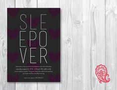 Sleepover Girls Party Invitation PaisleyPrintsOnline.com #invitations #prints #party #summerdeals