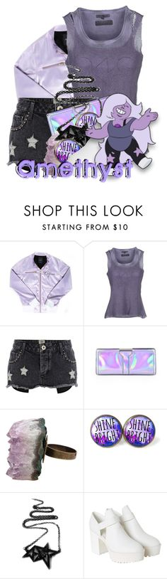 """""""Amethyst from Steven Universe"""" by magykgirlz ❤ liked on Polyvore featuring mode, Silvian Heach, River Island, Milly, AstralEYE, Poizen Industries et Monki"""