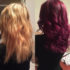 Colour change from blonde to burgundy. Lovely vibrant crazy coloured hair. ❤️