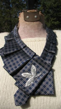 OOAK Unique Blue Grey Silk Neckwear, Ladies Scarflettes