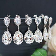 15% OFF SET of 11 Wedding Jewelry Bridesmaid Jewelry Bridal Earrings Bridesmaid Earrings Clear White Swarovski Crystal Tear drops Earrings