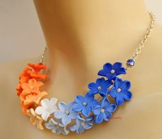 Blue orange  #Ombre jewelry  #Floral #necklace  by insoujewelry