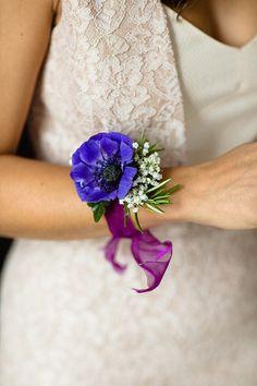 Anemone wrist corsage. Photography by www.emiliewhite.com