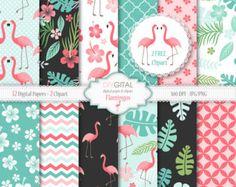 Flamingo digital paper  Tropical clipart  Scrapbook paper