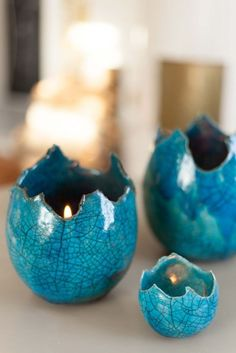 Turquoise Ceramic Candle Holders