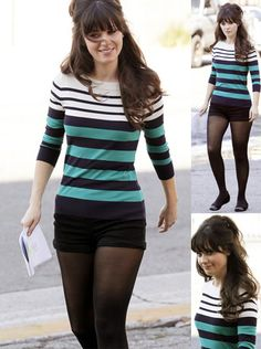 Kate Spade striped shirt and shorts. Zooey Deschanel as Jessica Day in New Girl. Love her style. Jessica Day, Zooey Deschanel Style, Zoey Deschanel, Zooey New Girl, New Girl Outfits, Fashion Beauty, Girl Fashion, Outfits Plus Size, Shorts With Tights