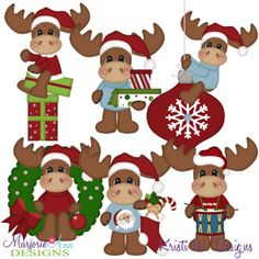 12 Moose Of Christmas-Set 1 SVG Cutting Files Includes Clipart
