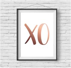 Copper XO Print, XO Poster, Hugs & Kisses, Rose Gold Art, Typography Poster, Minimalist Art, Rose Gold Home Decor, Modern Print, Digital Art