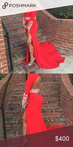 Red prom dress Only worn for a few hours ! Excellent condition! Rachel Allan Dresses Prom