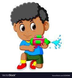 Boy playing with water gun vector image on VectorStock Holi Painting, Holi Drawing, Boys Playing, Drawing For Kids, Kids Christmas, Machine Embroidery Designs, Adobe Illustrator, Vector Free, Guns