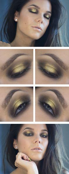 black & gold eye shadow by Linda Hallberg