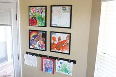 Displaying kids' artwork. What a great idea and it makes the kids so proud to see their art displayed.