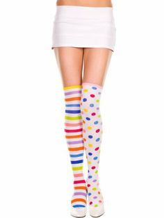 1a000589ce4 Sexy Acrylic Neon Rainbow Striped And Polka Dot Thigh High Stockings