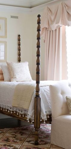 Window treatment looks to be made out of a matelasse bedspread. Candlewick / chenille on the bed. Feminine and elegant guest room ~ Phoebe Howard Bedroom Bed, Guest Bedrooms, Guest Room, Bedroom Decor, Cottage Bedrooms, Cottage Living, Master Bedrooms, Dream Bedroom, Master Suite