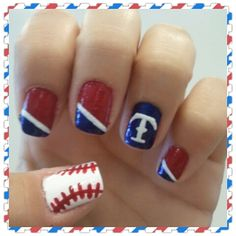 Texas Rangers Nails <3 By Rebecca Hernandez