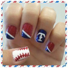 Texas Rangers Nails <3 By Rebecca Hernandez