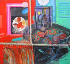 """Arte en Buenos Aires. Mariana Jasovich :. pinturas. Serie """"Espacios Interiores"""" """"Tienda de moda"""" 110 x 120, acrílico sobre tela"""