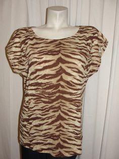 L-RL Lauren Active – Ralph Lauren Brown Beige Animal Print 100% Cotton Top Sz L #RalphLauren #KnitTop #Casual