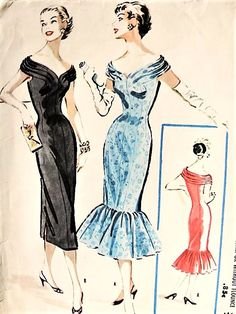 1950s GLMOROUS Evening Party Dress Pattern McCALLS 3569 Almost Off Shoulders Neckline, Slim Cocktail Dress With or Without Flirty Flounce Bust 34 Vintage Sewing Pattern FACTORY FOLDED