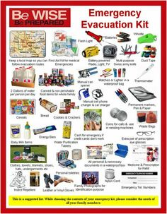 RED CROSS: suggested Emergency Evacuation Kit This is a suggest list: While choosing the contents of your emergency kit, consider the needs of all your family members. Disaster Preparedness, Survival Prepping, Survival Skills, Survival Gear, Hurricane Preparedness Kit, Survival Quotes, Tornado Preparedness, Survival Shelter, Survival Stuff