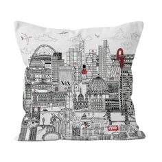 The capital's most famous sights are depicted in fine detail on this striking black and white cushion. Meha's was carefully researched to squeeze as many of the city's most loved landmarks as possible into one drawing. Black And White Cushions, London Skyline, Tower Of London, Decorating Your Home, Monochrome, Photo Wall, Throw Pillows, Drawings, Handmade