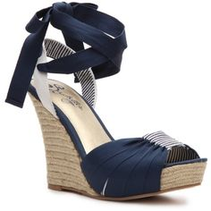 Seychelles Arden Wedge Sandal - Navy (380 SEK) ❤ liked on Polyvore featuring shoes, sandals, wedges, heels, nautical, test category, platform sandals, ankle tie espadrille, wedge sandals and platform wedge sandals