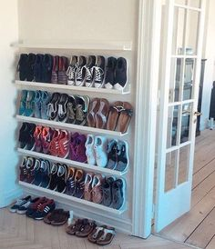 zophom Shoe storage ideas, shoe organization for small space, shoe cabinet, cheap storage . Wall Mounted Shoe Storage, Closet Shoe Storage, Diy Shoe Rack, Shoe Racks, Wall Shoe Rack, Diy Rack, Shoe Closet Organization, Closet Shelving, Shoe Wall