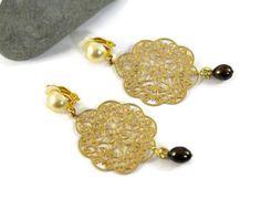 Gold Filigree earrings Clip on earrings  Chandelier by UneDemiLune