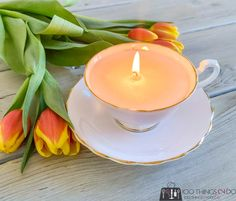 Making candles out of Grandma's teacups | 100 Things 2 Do Mesh Ribbon Wreaths, Christmas Mesh Wreaths, Deco Wreaths, Easter Wreaths, How To Make Paper Flowers, How To Make Bows, Envelope Scrapbook, Teacup Candles, Diy Candle Holders