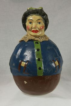 Vintage German Paper Mache Halloween Witch Roly Poly C1920 | eBay