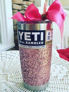 Glitterized Yeti Rambler in Rose Gold with Lid by GlitterYeti