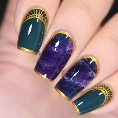 purple-nails-designs-square-marble-golde