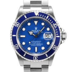 Men's Rolex Submariner Stainless Steel Blue Index Dial Blue 60min Bezel Oyster Band