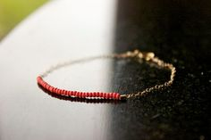bright coral  lucky gold bracelet by minco on Etsy, $15.00