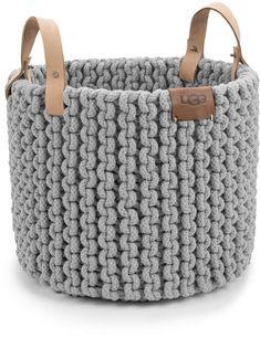 Crochet basket 243335186111954241 - UGG Tulum Rope Basket – Seal Grey Medium Source by dillards Crochet Basket Pattern, Knit Basket, Rope Basket, Crochet Patterns, Leather Label, Leather Handle, Crochet Home, Bead Crochet, Chunky Crochet