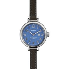 Shinola The Birdy Periwinkle Dial Heather Gray Double-wrap Leather... (11 915 UAH) ❤ liked on Polyvore featuring jewelry, watches, water resistant watches, analog watches, leather dress watch, analog wrist watch and leather wrist watch