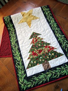 Double Christmas Tree Quilted Table Runner by QuiltedbyTommyD, $60.00