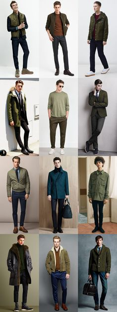 Men's 2015 Autumn/Winter Fashion Trend Preview: Subdued/Military Green Clothing Outfit Inspiration Lookbook