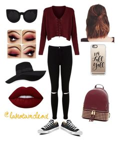 """It's Fall Y'all"" by lakotamcleod on Polyvore featuring Miss Selfridge, Clairol, Converse, San Diego Hat Co., Casetify, MICHAEL Michael Kors and Lime Crime"