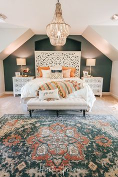 colorful home decor Cozy Master Bedroom Reveal. Find ideas for your own room. Rustic and boho design with cutest colors. Cozy Bedroom, Bedroom Apartment, Modern Bedroom, Contemporary Bedroom, Stylish Bedroom, Bedroom Inspo, Bedroom Rustic, Minimalist Bedroom, Bedroom Inspiration